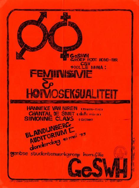 De Gentse Studentenwerkgroep Homofilie stond in haar werking ook open voor vrouwelijke homoseksuelen, i.t.t. bv. De Rooie Vlinder (Collectie Universiteitsarchief Gent, © Gentse Studentenwerkgroep Homofilie, A179_0814).