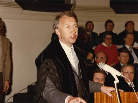 Dies Natalis 1980: laudatio door prof. Marcel Storme (Collectie Universiteitsarchief, © R. Masson)