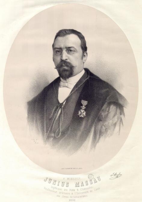 Portret uit 1893 van Junius Massau, wiskundige actief in de 2de helft van de 19de eeuw (collectie Universiteitsbibliotheek Gent).