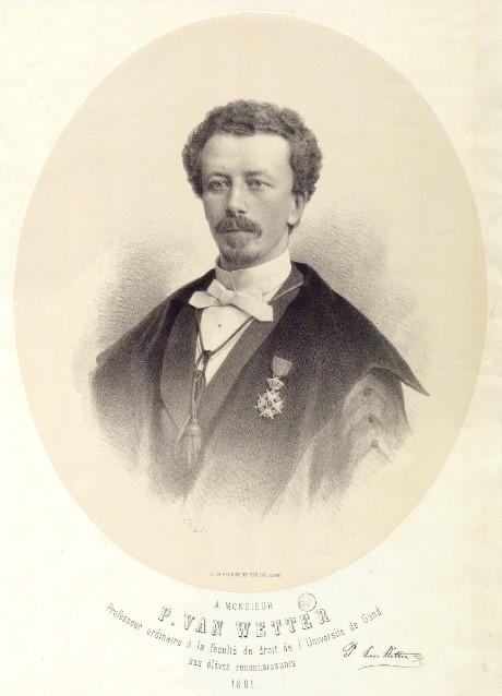 Portret uit 1881 van rechtsgeleerde en rector Polynice Van Wetter (1844-1925)  die zich tegen de vernederlandsing van de Gentse universiteit kantte (Collectie Universiteitsbibliotheek Gent).