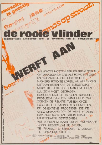 De Rooie Vlinder verspreidt in 1977 een affiche om leden aan te trekken. Die verschijnt onder andere in Schamper. (Collectie Universiteitsbibliotheek Gent)