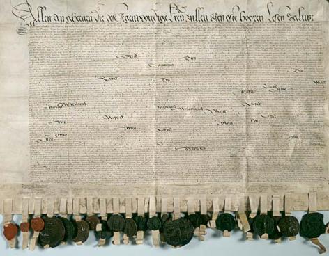 Pacificatie van Gent uit 1576 waarmee de staten van Holland, Zeeland, Brabant, Vlaanderen, Artois en Henegouwen hun alliantie tegen de Spanjaarden bezegelen (Collectie Nationaal Archief Nederland).