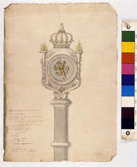 Ontwerptekening voor de fasces van de Gentse universiteit door Lieven de Bast uit 1816 (Collectie Universiteitsarchief Gent, © Nationaal Archief Den Haag).