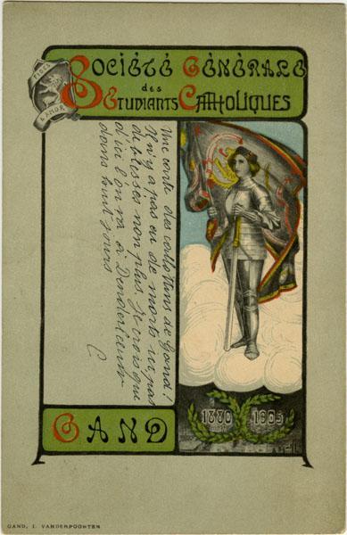 Postkaart met de vlag van de Gé Catholique, gesticht in 1880 (Collectie Universiteitsarchief Gent).