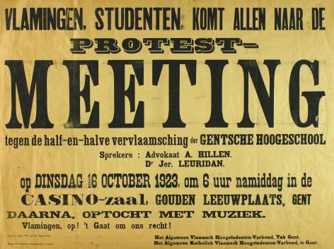 De gedeeltelijke vernederlandsing van de universiteit was voor de studenten een halfslachtig compromis. Ze startten een boycot die enkele jaren zou aanhouden. Voor Vermeylen leverde de Nolfwet evenwel een aanstelling op (Collectie AMVC-Letterenhuis).