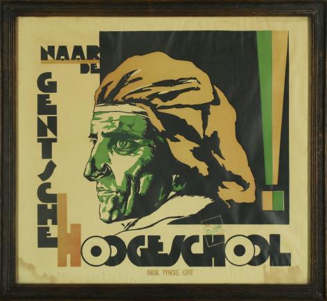 En nu naar Gent! Affiche ter promotie van de vernderlandste universiteit van Gent in 1930 (Collectie AMVC Letterenhuis)