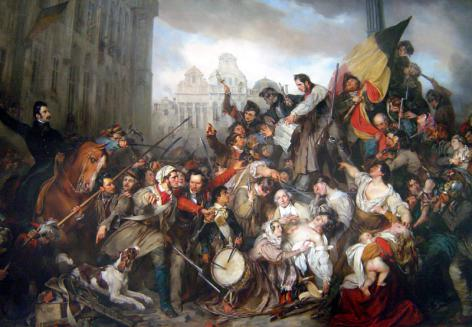 Tafereel van de Septemberdagen van 1830 op de Grote Markt te Brussel, geschilderd door Gustaaf Wappers in 1835 (Collectie KMSKB, Brussel).