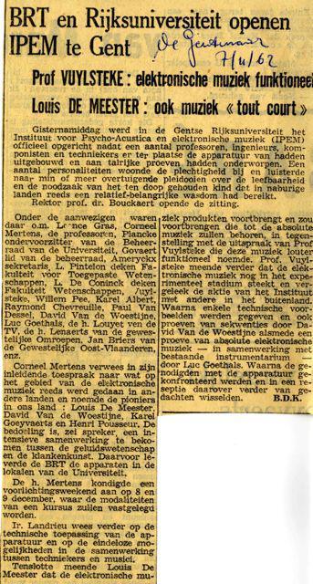 De Gentenaar kondigt op 7 november 1962 de oprichting van het IPEM aan