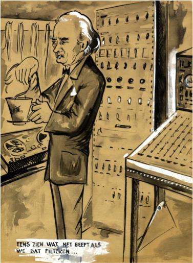 Cartoon van componist Louis De Meester (1904-1987)