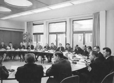 Viering 10 jaar Seminarie voor Productiviteitsstudie en -Onderzoek 1963 (Collectie Universiteitsarchief Gent - foto I.M.P.F.).