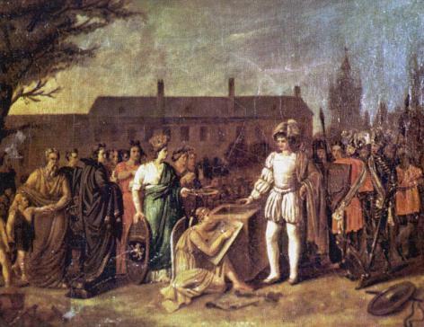 Allegorische voorstelling van de eerstesteenlegging van de Aula op 4 augustus 1819 (Collectie Universiteitsarchief Gent).