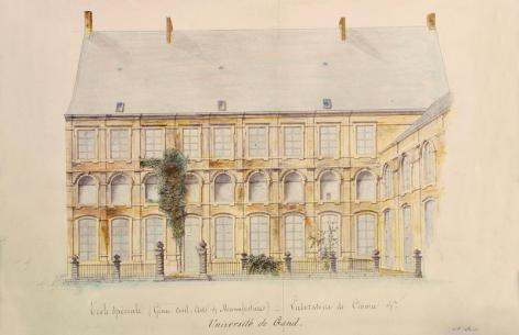 Het laboratorium voor scheikunde op de binnenkoer van het jezuïetencollege in de Voldersstraat ten tijde van de Ecole Spéciales (Collectie Universiteitsarchief Gent).