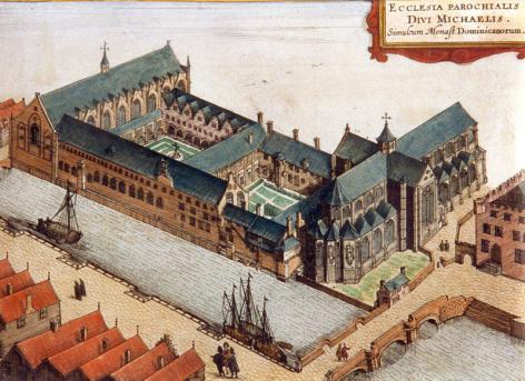 Perspectieftekening van Sanderus van de kloostergebouwen van Het Pand, de Sint-Michielskerk en de Leie uit de 17de eeuw (Collectie Universiteitsarchief Gent).