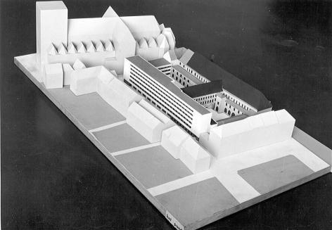 Maquette van Het Pand met het ontwerp voor een studentenhome (Collectie Universiteitsarchief Gent).