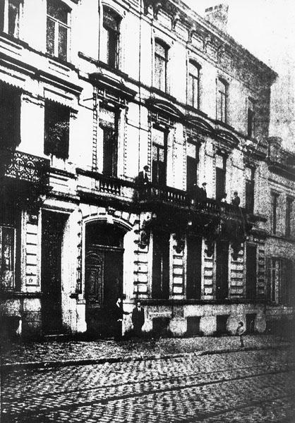 Herenhuis Veyrac, toen het fungeerde als studentenhuis Hou ende Trou (1918) (Collectie Universiteitsarchief Gent).