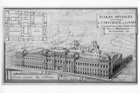 Tekening en grondplan van het Plateaugebouw door Adolphe Pauli en de omliggende arbeidersbuurt (Collectie Universiteitsarchief Gent).