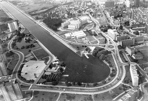 Luchtfoto van de Watersportbaan en omgeving na 1980 (Collectie Universiteitsarchief Gent - foto I.M.P.F.).