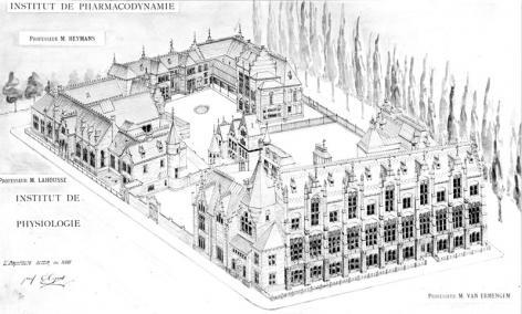 Pentekening van Rommelaerecomplex in vogelperspectief (Collectie Universiteitsarchief Gent).