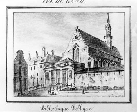 Ingang van de Baudeloobibliotheek met een brugje over de Ottogracht, voor de demping ervan in het laatste kwart van de 19de eeuw (Collectie Universiteitsbibliotheek Gent - kaartenzaal).