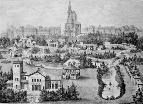 Tekening van de 19de eeuwse Muinkmeersen met de Gentsche Diergaerde en op de achtergrond de Sint-Pieterskerk en fabriekschoorstenen (Collectie Universiteitsarchief Gent).