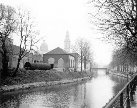 Zicht op de Schelde en het oud Sint-Pieterskwartier (Collectie Universiteitsarchief Gent).