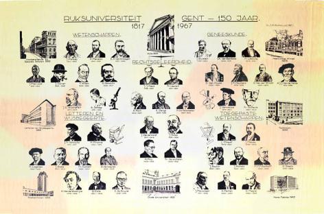 Herinneringsprent met hoogleraren van de UGent, naar aanleiding van 150 jaar UGent in 1967 (Collectie Universiteitsbibliotheek Gent).