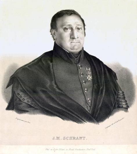 Johannes Schrant, hoogleraar aan de faculteit Letteren en Wijsbegeerte (Collectie Universiteitsbibliotheek, © UGent - steendruk van Anicet Lemonnier).