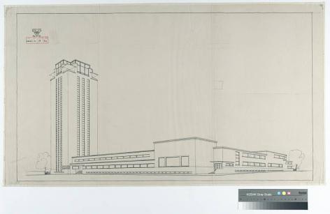 Perspectiefschets van de Universiteitsbibliotheek vanop de hoek Rozier en Sint-Hubertusstraat uit 1935 (Collectie Universiteitsbibliotheek, © UGent).