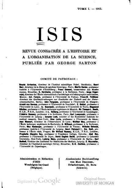 Voorblad van het eerste nummer van het tijdschrift 'Isis',1913 (Collectie Univer