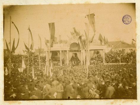Eerstesteenlegging van het Instituut voor de Wetenschappen op 16 april 1883 (Sta