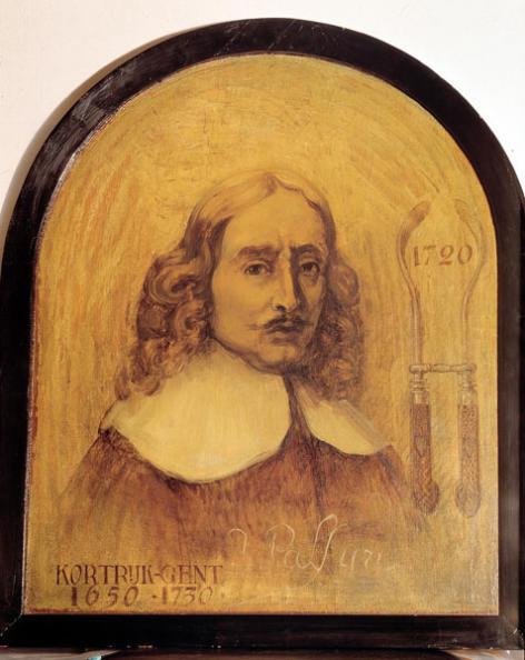 Schilderij van Jan Palfyn, de uitvinder van de verlostang, in het Museum voor de Geschiedenis van de Geneeskunde (Collectie Universiteitsarchief Gent).
