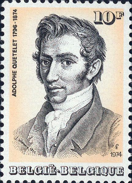 Postzegel met afbeelding van statisticus en alumnus Adolphe Quételet (Collectie Universiteitsarchief Gent).