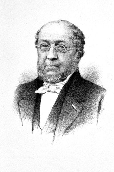Constant Serrure, hoogleraar aan de faculteit Letteren en Wijsbegeerte, titularis eerste cursus Nederlandse Letterkunde in 1854 en rector in 1855-1857 (Collectie Universiteitsbibliotheek Gent).
