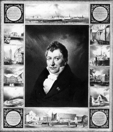 Joseph Van Crombrugghe, burgemeester van Gent van 1825 tot 1842 met rondom afbeeldingen van zijn verwezenlijkingen. Rechts boven de traphal van het peristylium, rechts onder de Baudeloobibliotheek (Collectie Universiteitsarchief Gent).