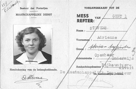 Toegangskaart voor de mess van de post uitgereikt aan het personeel van de universiteit (Collectie Universiteitsarchief Gent).