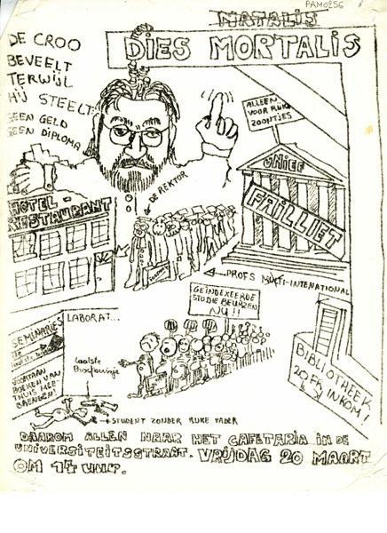 Pamflet tegen de besparingsmaatregelen van minister van Nationale Opvoeding Herman De Croo midden jaren 1970 (Collectie Universiteitsarchief Gent).