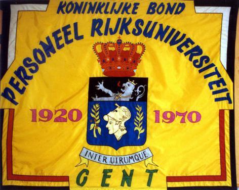 Vlag van de Koninklijke Bond van het Personeel van de UGent, opgericht in 1920 (Collectie Universiteitsarchief Gent).