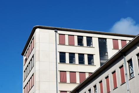 Detail van het gebouw van de faculteit Letteren & Wijsbegeerte