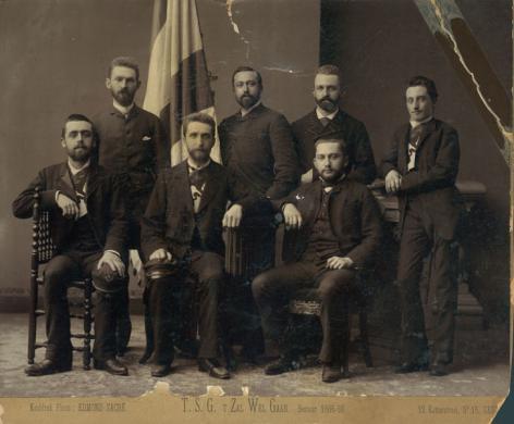 Bestuur 1885-1886 van 't Zal Wel Gaan (Collectie Universiteitsarchief Gent).
