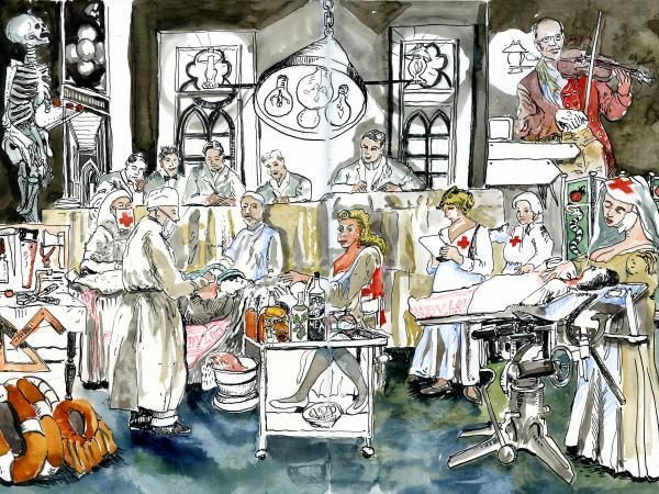 Jo Clauwaert, 'De medische vooruitgang', mixed media, 2020 (© Jo Clauwaert)