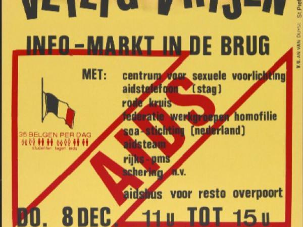 Studenten tegen AIDS organiseren tijdens de AIDS-week in december 1988 een infomarkt in De Brug. Verschillende sociale organisaties maar ook private sponsors steunen de actie. (Collectie Unviersiteitsbibitheek Gent)