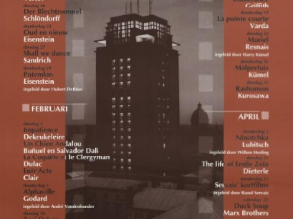 Affiche met het programma van Film-Plateau in het voorjaar van 1998 (Collectie Universiteitsbibliotheek Gent, 001879045).