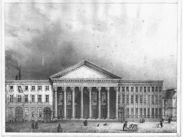 Tekening van de gevel van de Aula met rechts het Huis Crombrugge