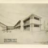 Schets van architect Jan Cnops voor het ziekenhuis voor Ganda-Congo te Ambaki in Belgisch Congo (© Universiteitsarchief Gent, Ganda-Congo 4A26 2530 doos 7)
