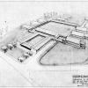 Ontwerp van architect Jan Cnops voor het ziekenhuis voor Ganda-Congo te Ambaki in Belgisch Congo (© Universiteitsarchief Gent, Ganda-Congo 7M doos 40 Plannen 0-35 plan 0)