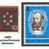 De beroemde benzeenstructuur prijkt op postzegels in België en Bondsrepubliek Duitsland naar aanleiding van de honderdste verjaardag van de formulering door Kekulé in 1865.