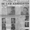In 1946 wordt Marguerite De Riemaecker-Legot (links midden) de eerste vrouwelijke volksvertegenwoordiger voor de CVP in het arrondissement Brussel, verkozen door enkel mannen (afdruk uit De Riemaecker, 'Marguerite De Riemaecker-Legot', 2015).