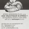 Affiche uit 1981 van een debat over demografie in Afrika, georganiseerd door de Afrika Vereniging van de Rijksuniversiteit Gent, waaraan ook historisch demograaf Chris Vandenbroeke deelneemt (Collectie Universiteitsbibliotheek Gent).