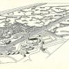 Totaalplan van de Stad Gent uit 1955 voor de uitbouw van de site aan de Blaar- en Neermeersen, waarbij de sportieve mogelijkheden van de Watersportbaan worden uitgebouwd (uit Stad Gent, 'Urbanisatie van de Blaar- en Neermeersen', 1955).