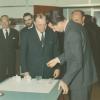 Willy Dekeyser (m.) in 1967 bij het bezoek van koning Boudewijn (r.) aan 'zijn'